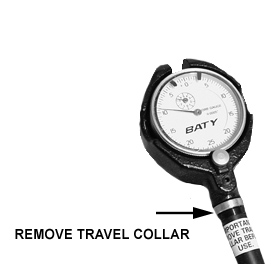 Remove Travel Collar Before Using Bore Gauge